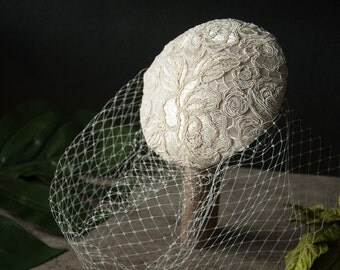 Bridal Fascinator off-white, creme