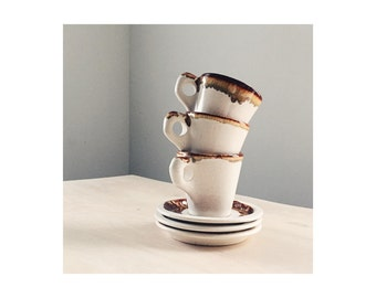 Set of Vintage Ceramic Coffee Mugs and Saucers