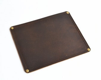 Leather Mouse Pad | Leather Mousepad | Handmade Desk Pad | Brown Leather Mouse Pad | Office Mouse Pad | Mouse Mat | Leather Desktop