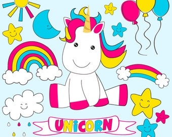 80% OFF SALE Baby Unicorn clipart commercial use, unicorns vector graphics, rainbow digital clip art, digital images - JK04161