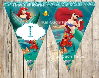Little Mermaid Triangle Banner instant download, Printable Little Mermaid Triangle Banner, Little Mermaid Party Banner