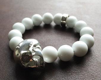 Silver Skull Bracelet W/ White Jade