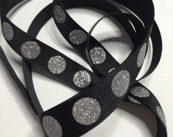 5/8 in  x  3 yd  Black Silver dots Ribbon 014