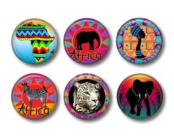 Africa Magnets, Kitchen Magnets, African, Zebra, Elephant, Ceramic Magnets, Fridge Magnets, Magnet Set