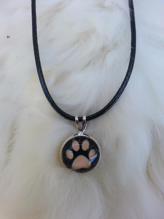 Silver Paw Cavachons: Silver Paw Print Necklace Leather Cord Dog Charm By