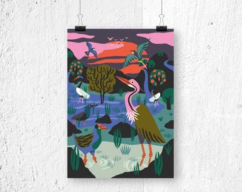 Poster Bird Reserve Cambodia A3 print A4 poster - poster nature - poster birds - bird poster - birds poster - birds print - Cambodia poster
