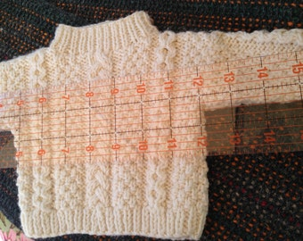 """18-20"""" Bear Doll Fisherman Cable HAND KNITTED Sweater"""