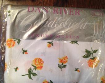 Full Flat Bedsheet.  Yellow Roses.  Dan River. Candlelight  NOS.  100% cotton.
