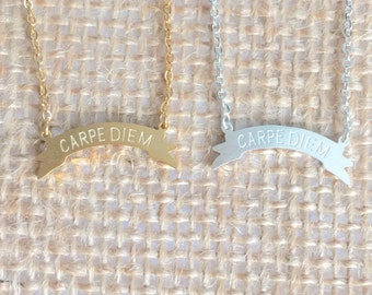 Carpe Diem Necklace small, gold or silver, short dainty delicate carpe diem necklace