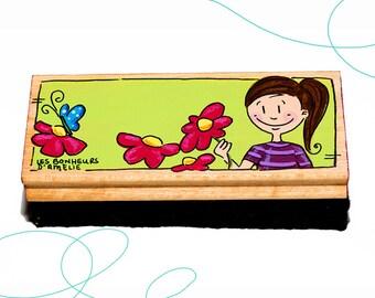 Brosse tableau, fille, fleurs, cadeau, enseignante, primaire
