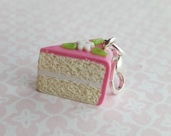 Pink birthday  cake charm with white flowers, key ring or  keychain charm, pink cake accessory, polymer clay cake with lobster clasp