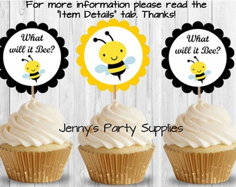 Set Of 12 Bee Cupcake Toppers Baby Shower Birthday