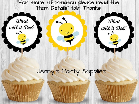 Set Of 12 Bee Cupcake Toppers Baby Shower