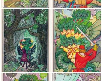Set of 16. Postcards USSR. Illustrations to Russion folk tale. Ivan - the peasant's son and the Chudo - Yudo. Printed in the Moscow. 1985