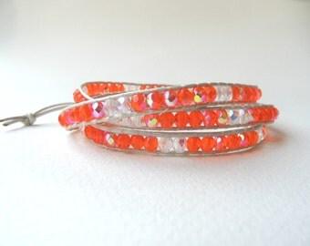 Leather wrap bracelet, triple wrap bracelet, orange and white wrap bracelet, boho wrap bracelet