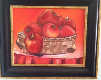 Red Hot Basket Of Apples Print-Free shipping