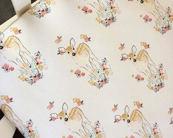 Woodland fawn fitted crib sheet / changing pad cover