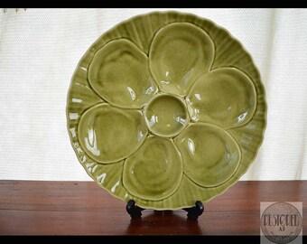 Vintage French Porcelain Majolica Oyster Plate- PILLIVUYT-FRANCE-1880s-1900s - au - Rare OLIVE Green - ktt0076