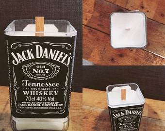 Recycled Whiskey bottle candle.