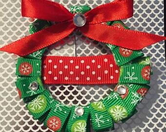 Christmas Wreath Sculpted Ribbon Hair Bow