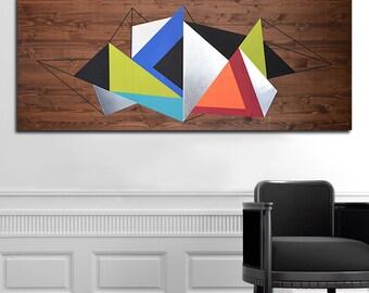 Abstract Wall Art, Modern Wood Art, Geometric Wall Art, Wood Sculpture, Wood Wall Art, Metal Wall Art, Metal Wall Decor, Geometric Art
