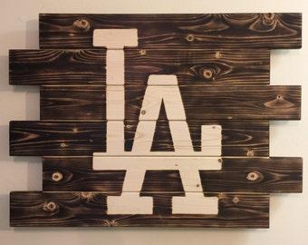 Los Angeles Dodgers baseball charred wood sign