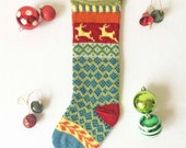 Hand Knit Christmas Stocking with Galloping Reindeer in a Variety of Bright Colors