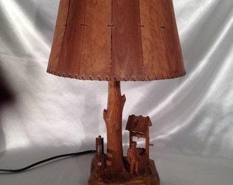 WOOD LAMP/PF Caron Lamp,Caron hand carved wood lamp,Caron Folk Art Lamp,Wood Carved Lamp,Quebec Folk Art,Caron Wood Carved Lamp with Shade