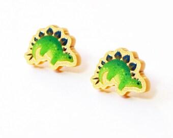 Acrylic Stegosaurus Stud Earrings - Silver Plated