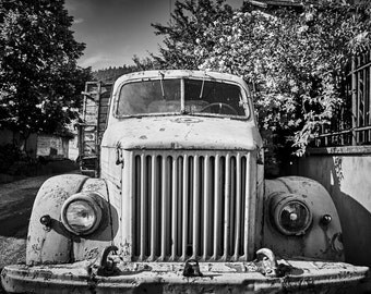Old Rusty Truck, Vintage, Rural, Black & White, Instant Download, Printable, Wall Decor
