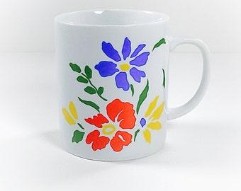 Vintage White Mug Abstract Floral, Retro Coffee Tea Mug, White Mug, Blue Red Yellow Green Modern Floral, Favorite Mug, Mug Collection