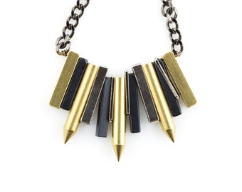 Women's Industrial Edgy Bib Necklace