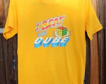 "1970s ""I Beat The Cube"" Rubix Cube T shirt"