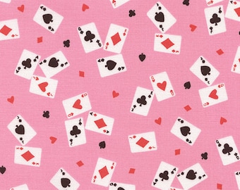 Alice in Wonderland Playing Cards Fabric - Pink - Sold by the 1/2 Yard