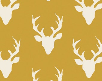 Hello, Bear - Buck Forest Fabric - Mustard - Sold by the 1/2 Yard