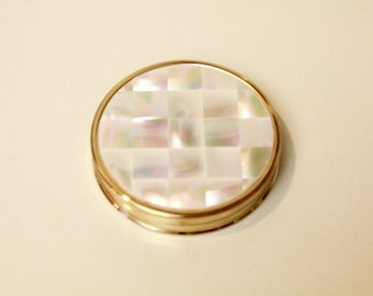 Vintage Pearl Case Max Factor Compact/ Creme Puff/ Hollywood, London/ With Powder and Puff, Mirror Back