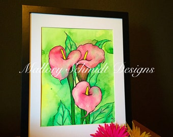 Home decor Calla lilies Original painting Watercolor painting Colored pencil Floral print Pink and green wall art Mixed media art Flower art