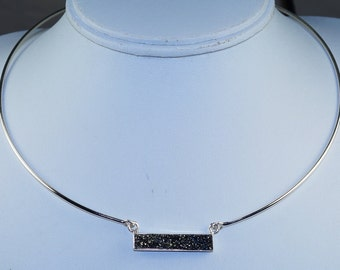 Wonderful Modern Silver Druzy & Solid 925 Sterling Silver Choker Bar Necklace by Silver Trend