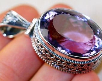 90cttw Giant Vinatge Style Pink Amethyst  & 925 Sterling Silver Pendant by Silver Trend, Victorian Style, Handcrafted Jewelry