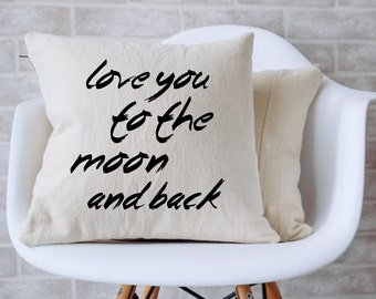 """Love you to the moon and back Couch Pillow (14"""" x 14"""")"""