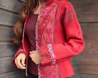 Red Ethnic Felted Jacket