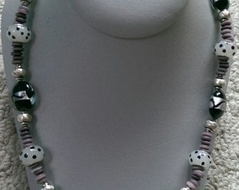 Gray with Black Polka Dots Lampwork Necklace