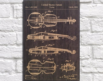 Violin Patent print gift String instrument Wood wall art Music room decor Classical music patent art gift Music gift Panel effect Wood art