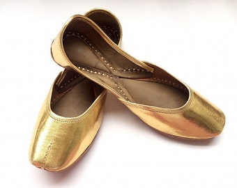 Sona Kitna Sona Hai - Metallic Gold Leather Ballet Shoes for Women, Everyday Wear - Indian Shoes from Enhara/Gift for her