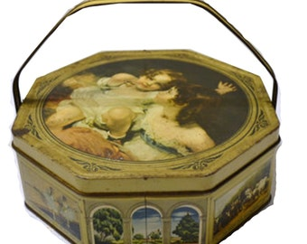 Sunshine Biscuit Tin Box with Handle, Antique Sunshine Biscuit Tin, Calmady Twins on Sunshine Biscuit Tin, Beatiful Natural Patina and Rust
