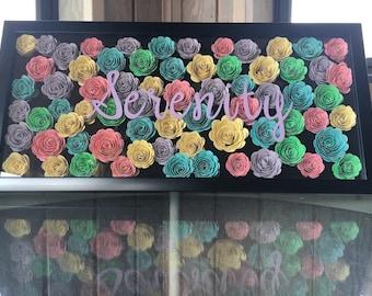 Custom 9x20 flower shadowbox with name