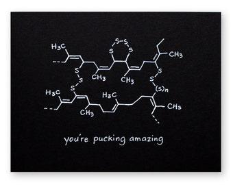 Ice Hockey Pun Card - You're Pucking Amazing - Chemistry Nerd Geek Card - winter sport, football, athlete, Canada, Canadian