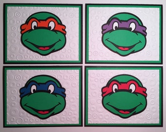 Handmade Set of 4 Teenage Mutant Ninja Turtle Blank Cards, Ninja Turtle, TMNT