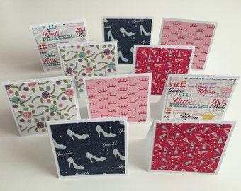 "Handmade Set of 10 - 3""x3"" Princess Mini Note Cards, Stationery, Greeting Cards, Scrapbooking, Princess"