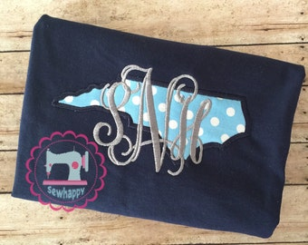 Appliqued State of North Carolina monogrammed Shirt